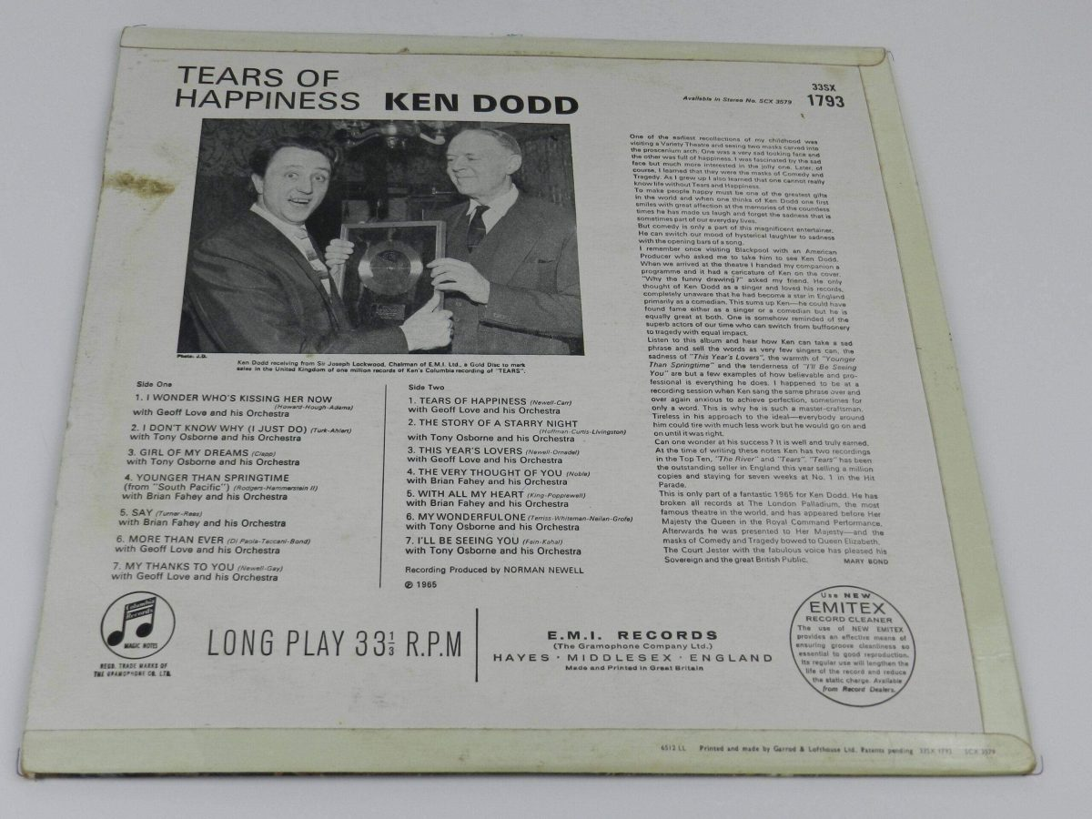 Ken Dodd Tears of Happiness vinyl record rear scaled