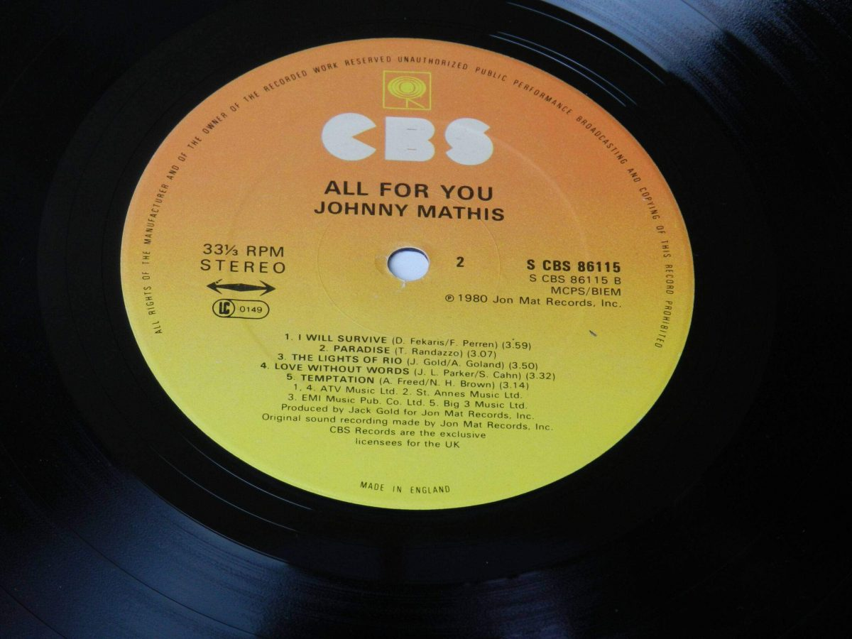 Johnny Mathis All for you vinyl record side B label scaled
