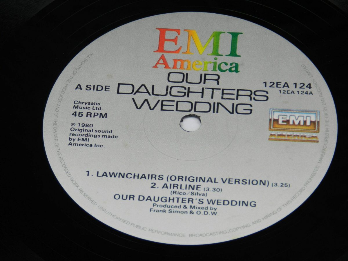 Our Daughters Wedding – Lawnchairs Airline vinyl record side A label scaled