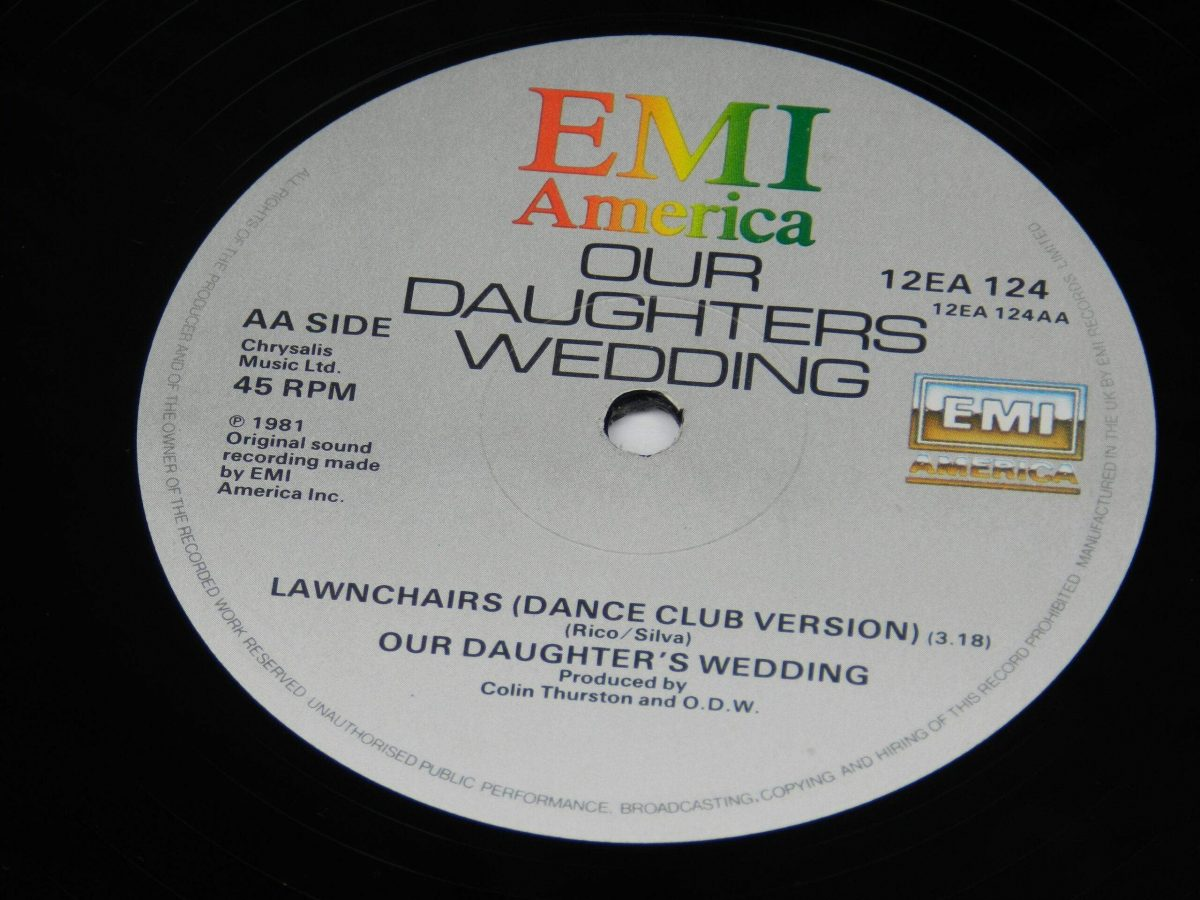 Our Daughters Wedding – Lawnchairs Airline vinyl record side B label scaled