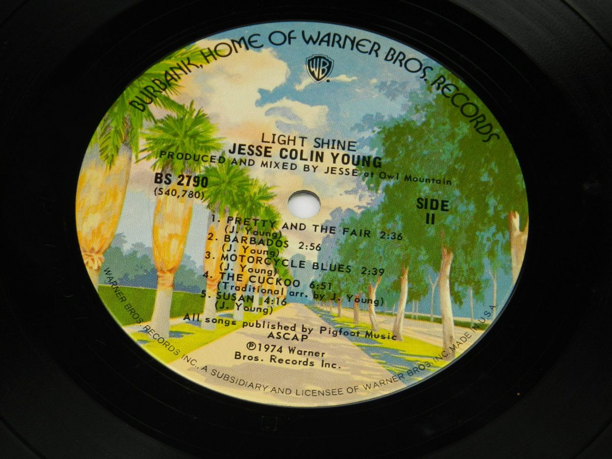 Jesse Colin Young – Light Shine vinyl record side B label scaled