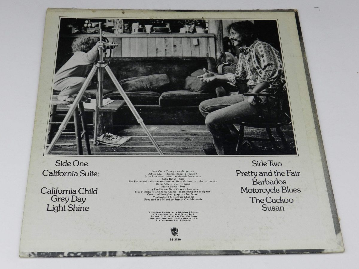 Jesse Colin Young – Light Shine vinyl record sleeve rear scaled