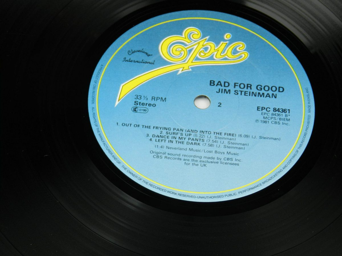 Jim Steinman – Bad For Good vinyl record side B label scaled
