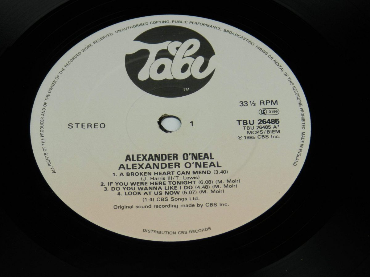 Alexander O Neal – Alexander O Neal vinyl record side A label scaled