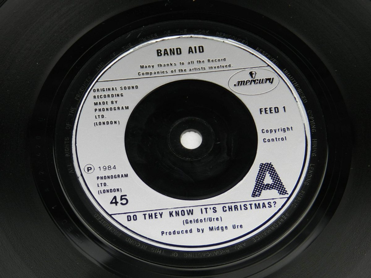 Band Aid – Do They Know Its Christmas vinyl record side A label scaled