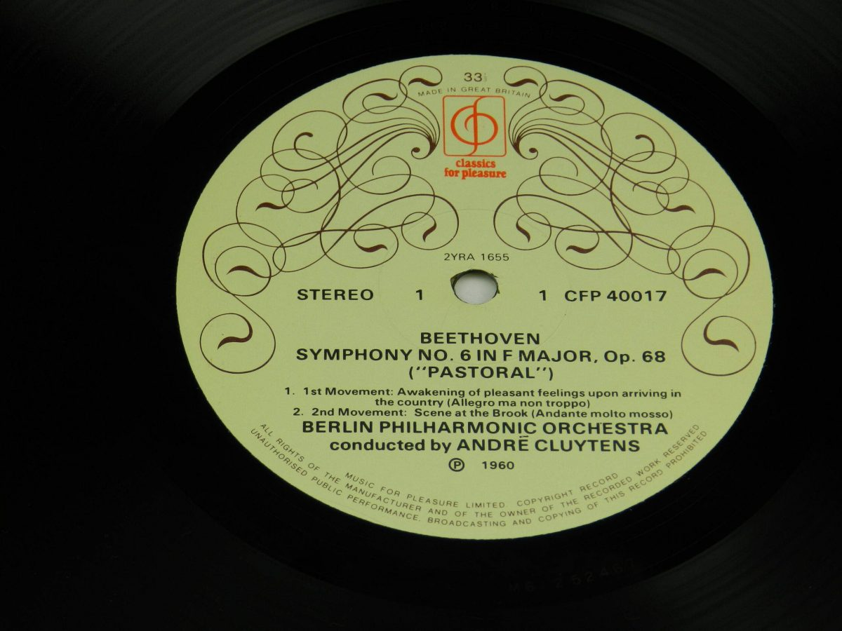 Beethoven Andre Cluytens The Berlin Philharmonic Orchestra – Symphony No6 In F Pastoral vinyl record side A label scaled