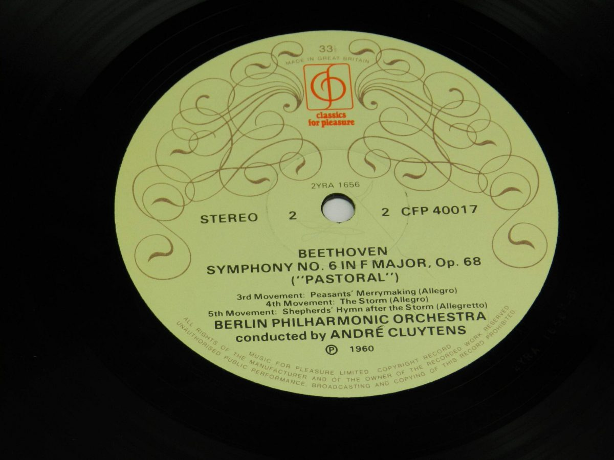 Beethoven Andre Cluytens The Berlin Philharmonic Orchestra – Symphony No6 In F Pastoral vinyl record side B label scaled