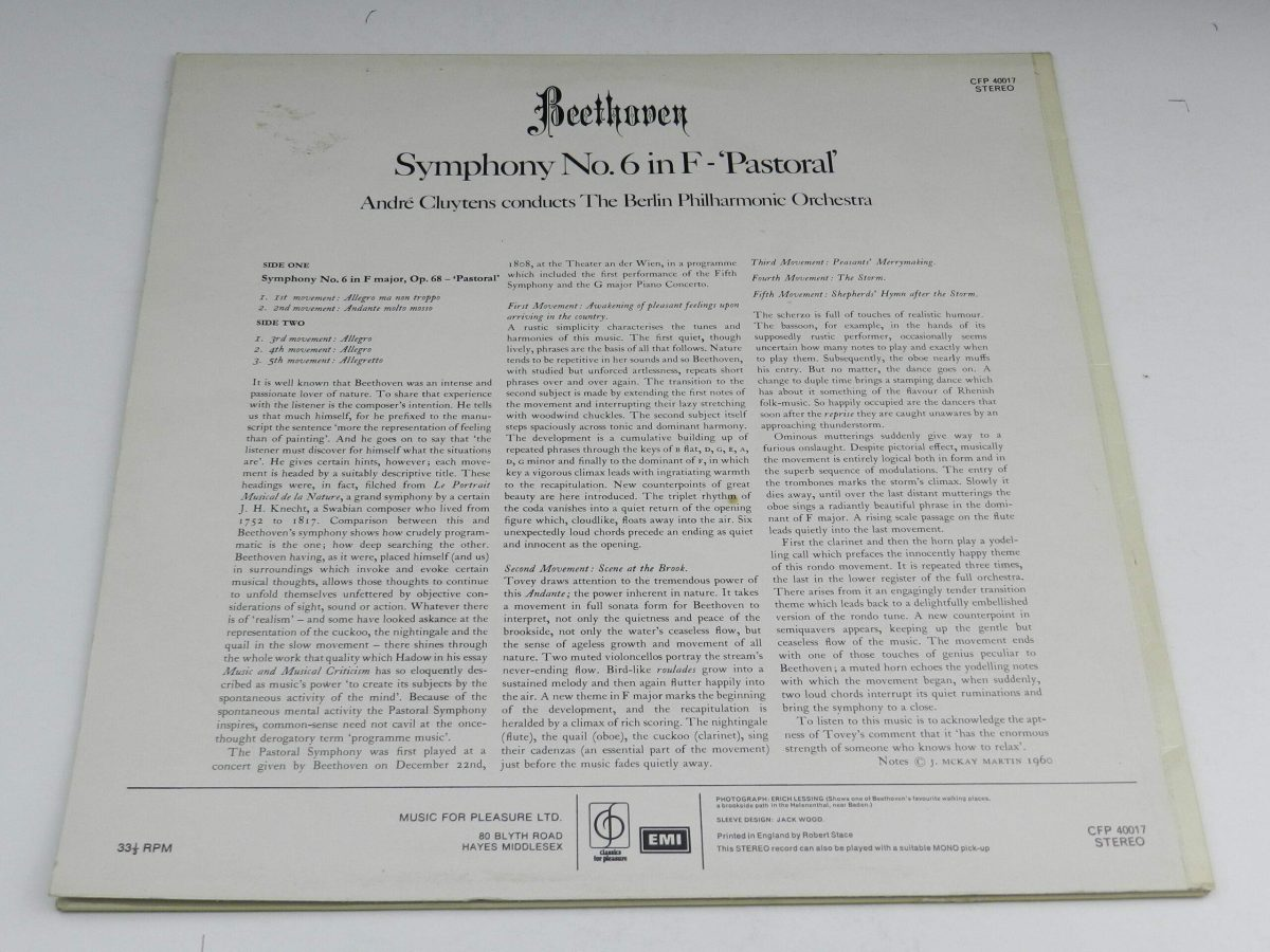 Beethoven Andre Cluytens The Berlin Philharmonic Orchestra – Symphony No6 In F Pastoral vinyl record sleeve rear scaled