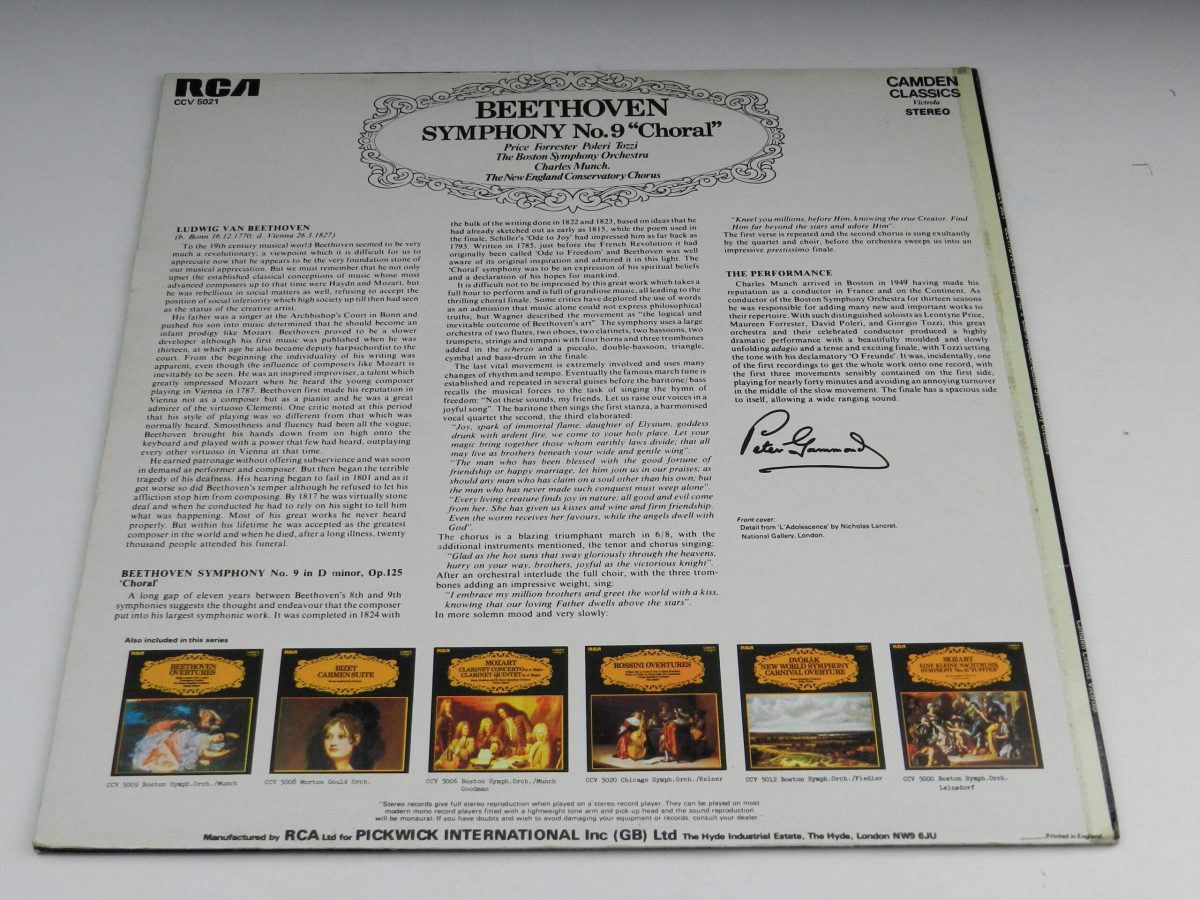 Beethoven Price Forrester Poleri Tozzi The Boston Symphony Orchestra Charles Munch The New England Conservatory Chorus – Symphony No9 Choral vinyl record sleeve rear scaled