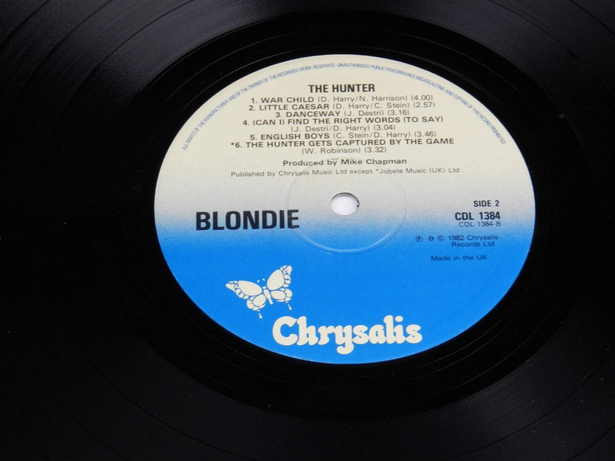 Blondie – The Hunter vinyl record side B label scaled