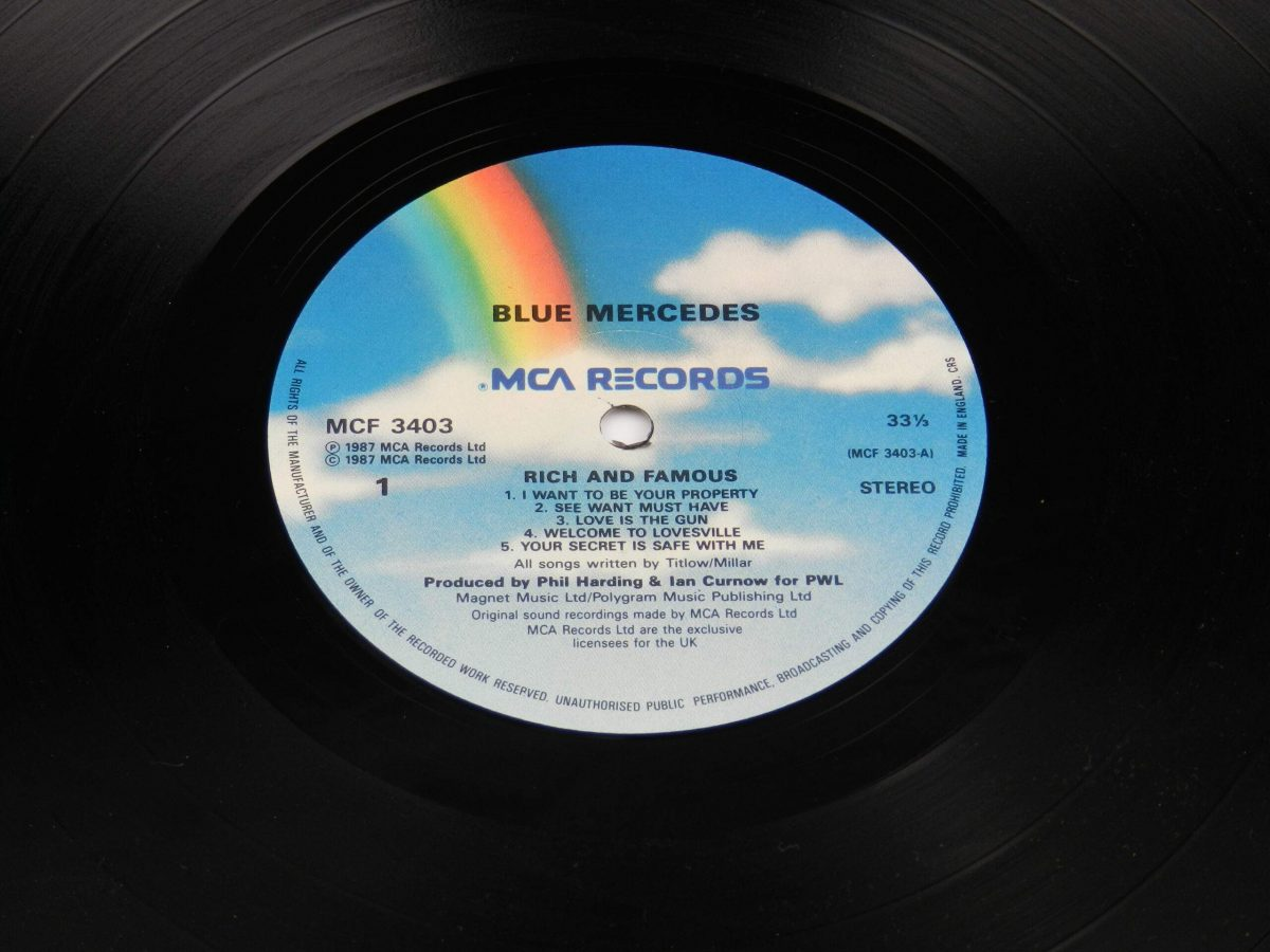 Blue Mercedes – Rich And Famous vinyl record side A label scaled