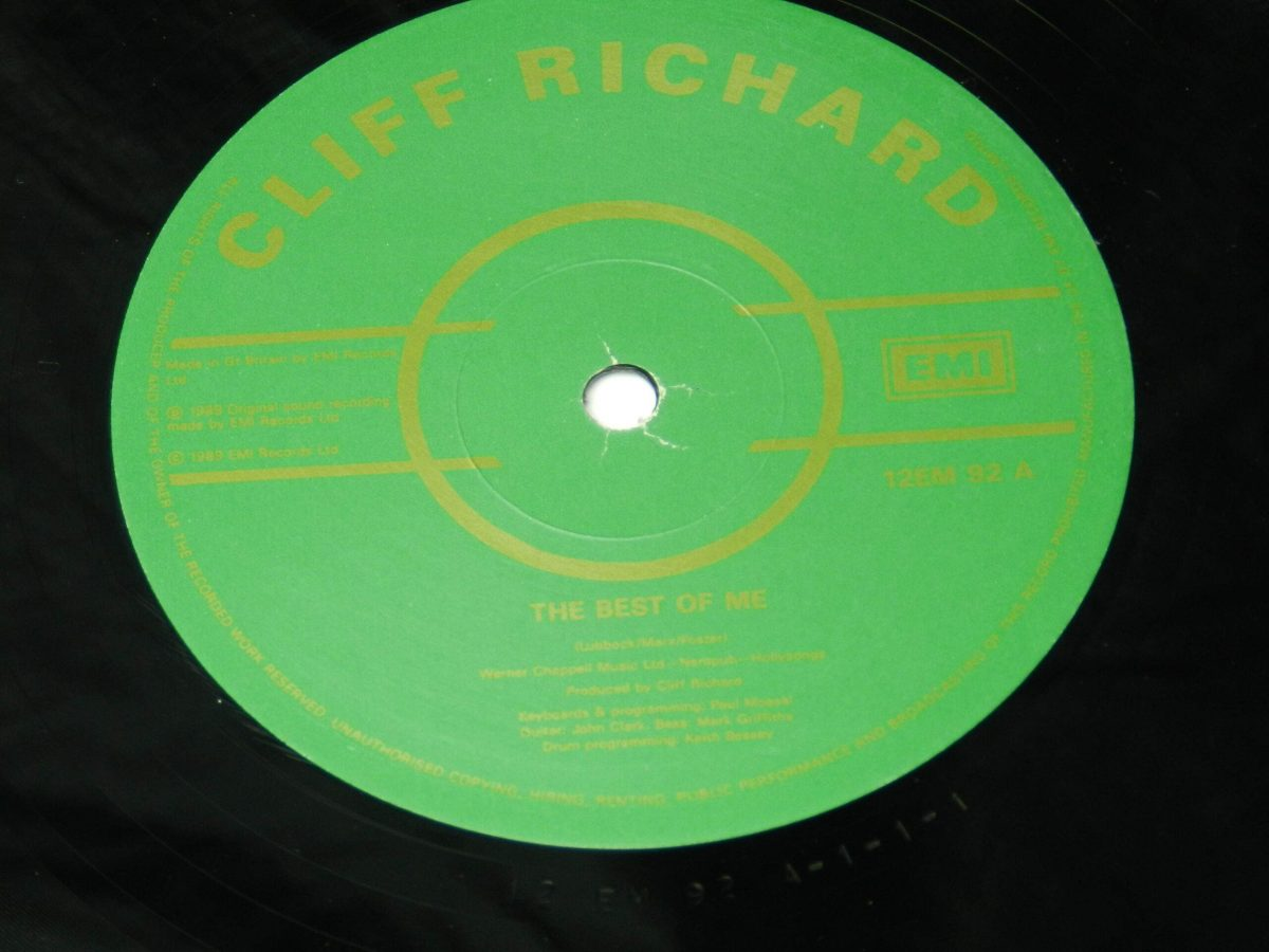 Cliff Richard – 100th Single vinyl record side A label scaled