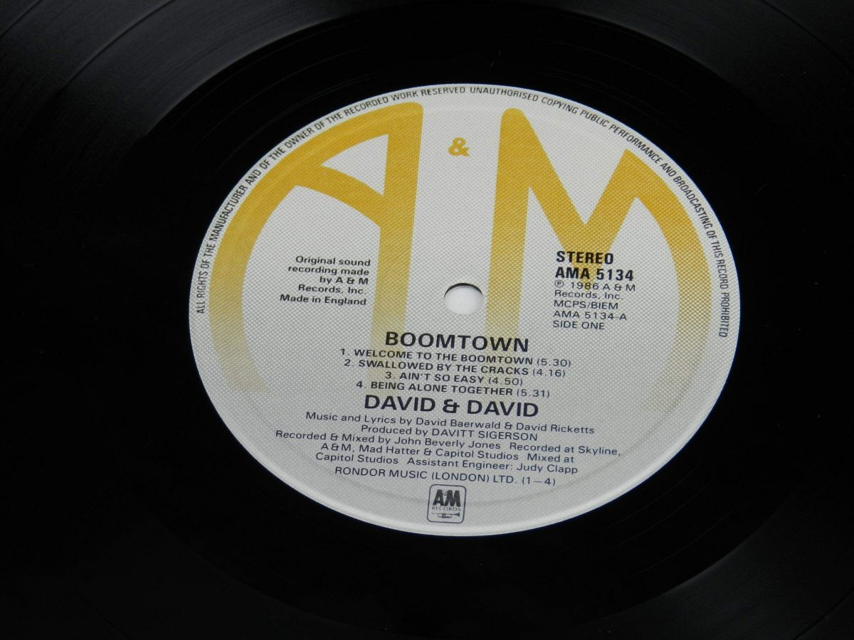 David and David – Boomtown vinyl record side A label scaled