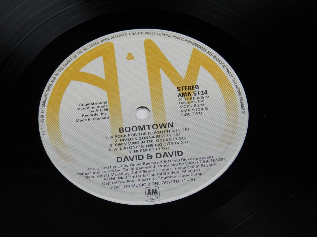 David and David – Boomtown vinyl record side B label scaled