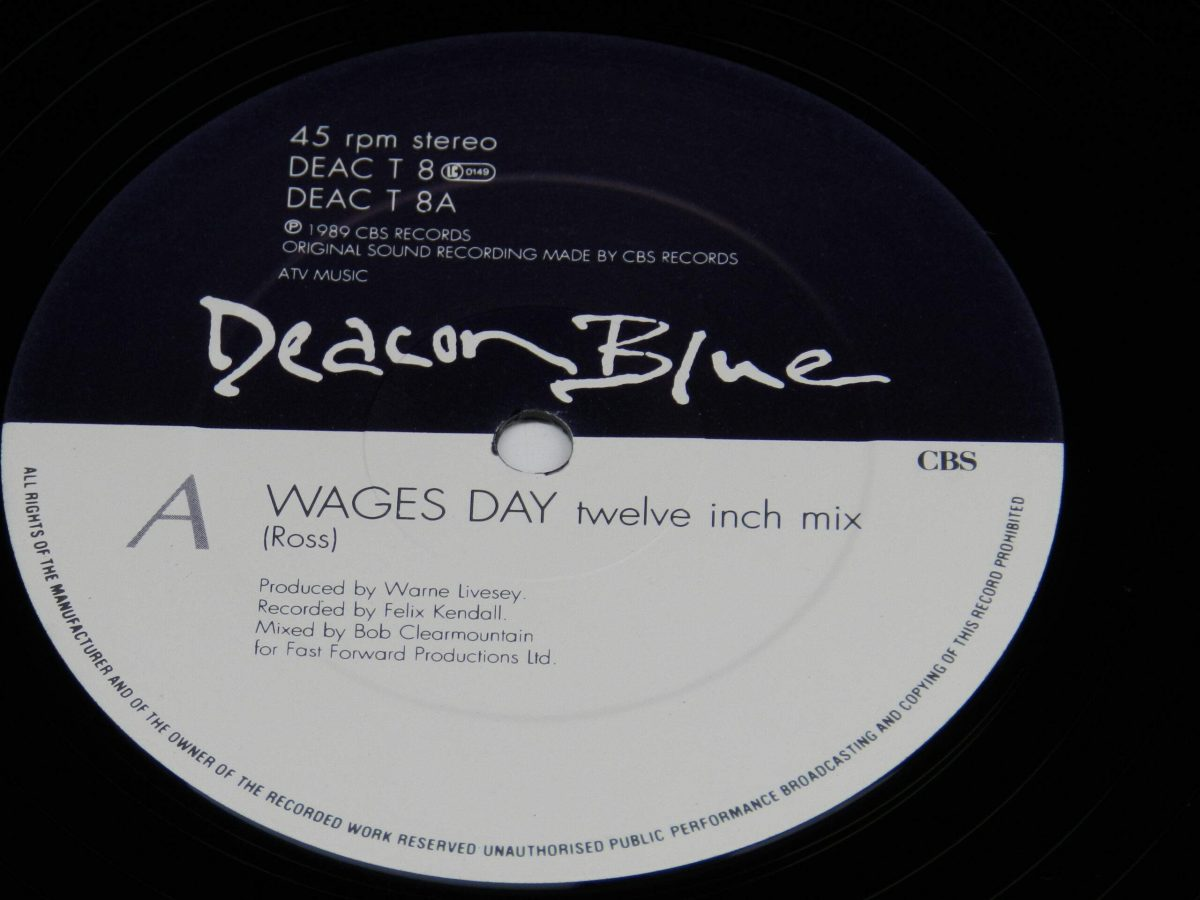 Deacon Blue – Wages Day vinyl record side A label scaled