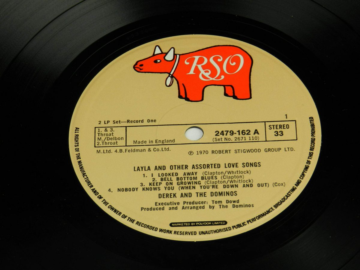 Derek and The Dominos – Layla And Other Assorted Love Songs vinyl record 1 side A label scaled