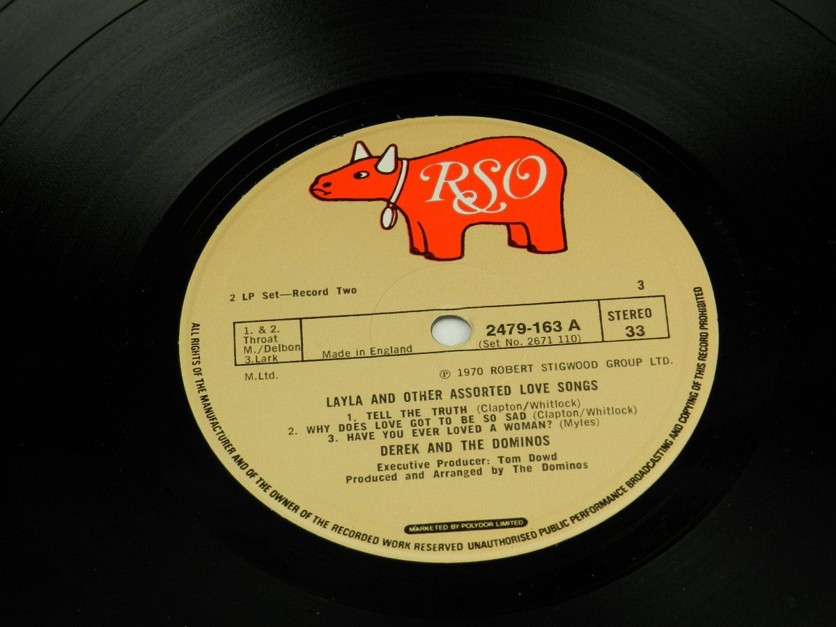 Derek and The Dominos – Layla And Other Assorted Love Songs vinyl record 2 side A label scaled