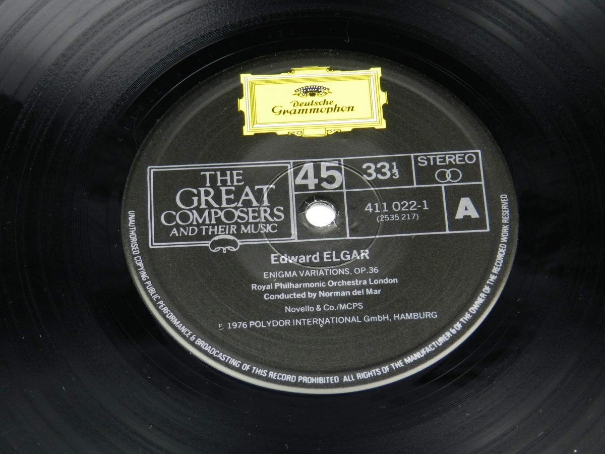 Elgar Royal Philharmonic Orchestra Norman Del Mar – Enigma Variations Opus 36 And Pomp And Circumstance Opus 39 vinyl record side A label scaled