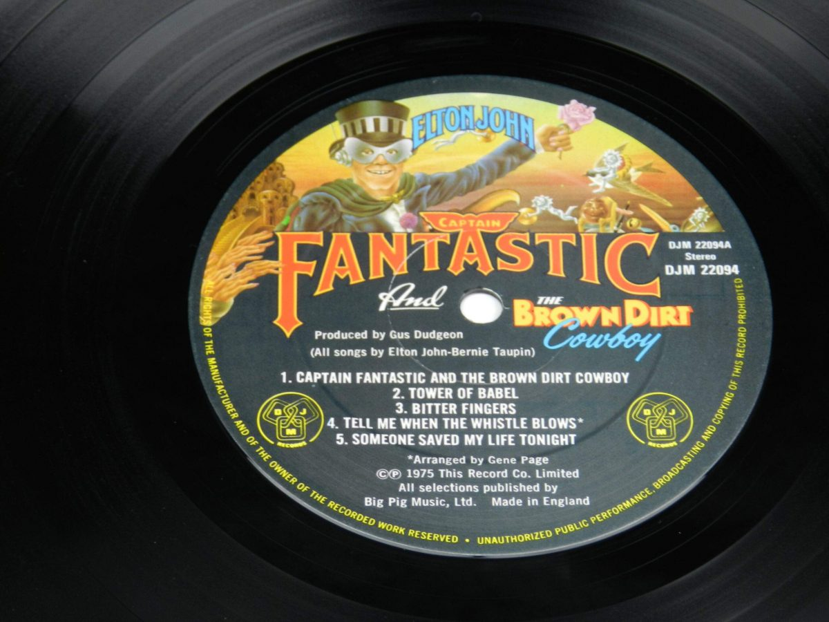 Elton John – Captain Fantastic And The Brown Dirt Cowboy vinyl record side A label scaled