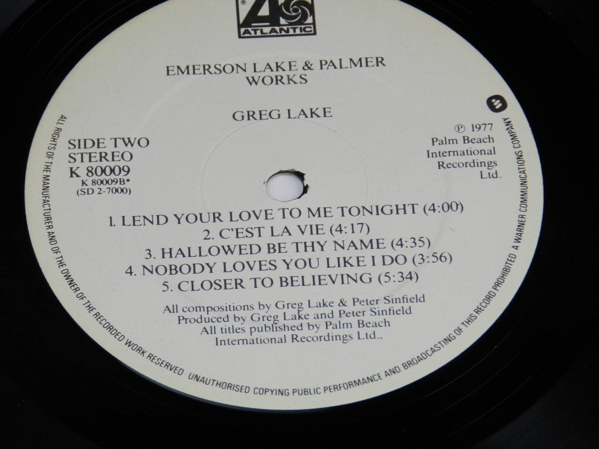 Emerson Lake and Palmer – Works Volume 1 vinyl record 1 side B label scaled