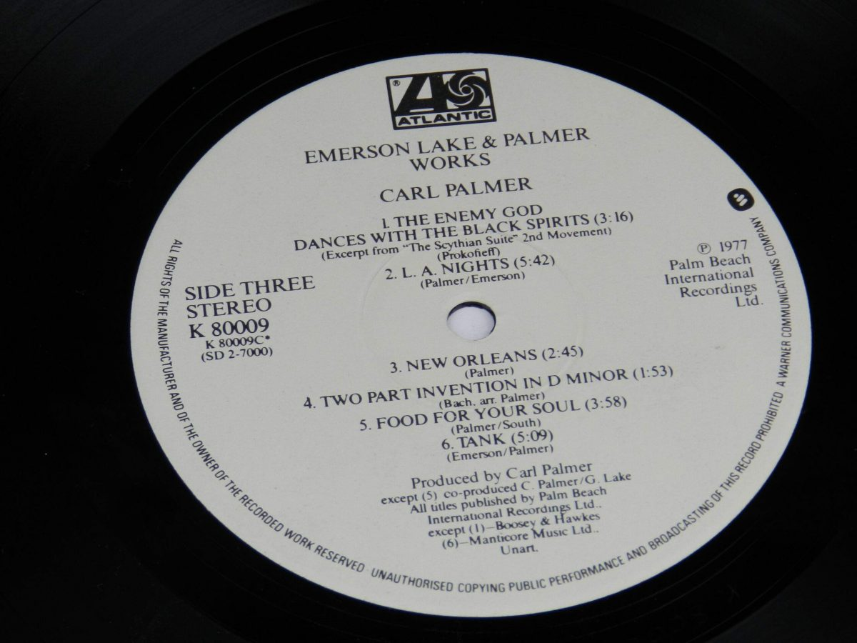 Emerson Lake and Palmer – Works Volume 1 vinyl record 2 side A label scaled