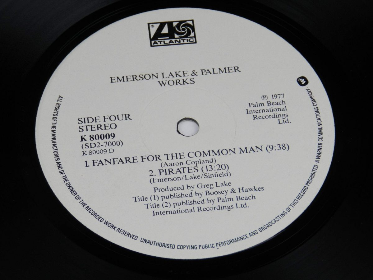 Emerson Lake and Palmer – Works Volume 1 vinyl record 2 side B label scaled