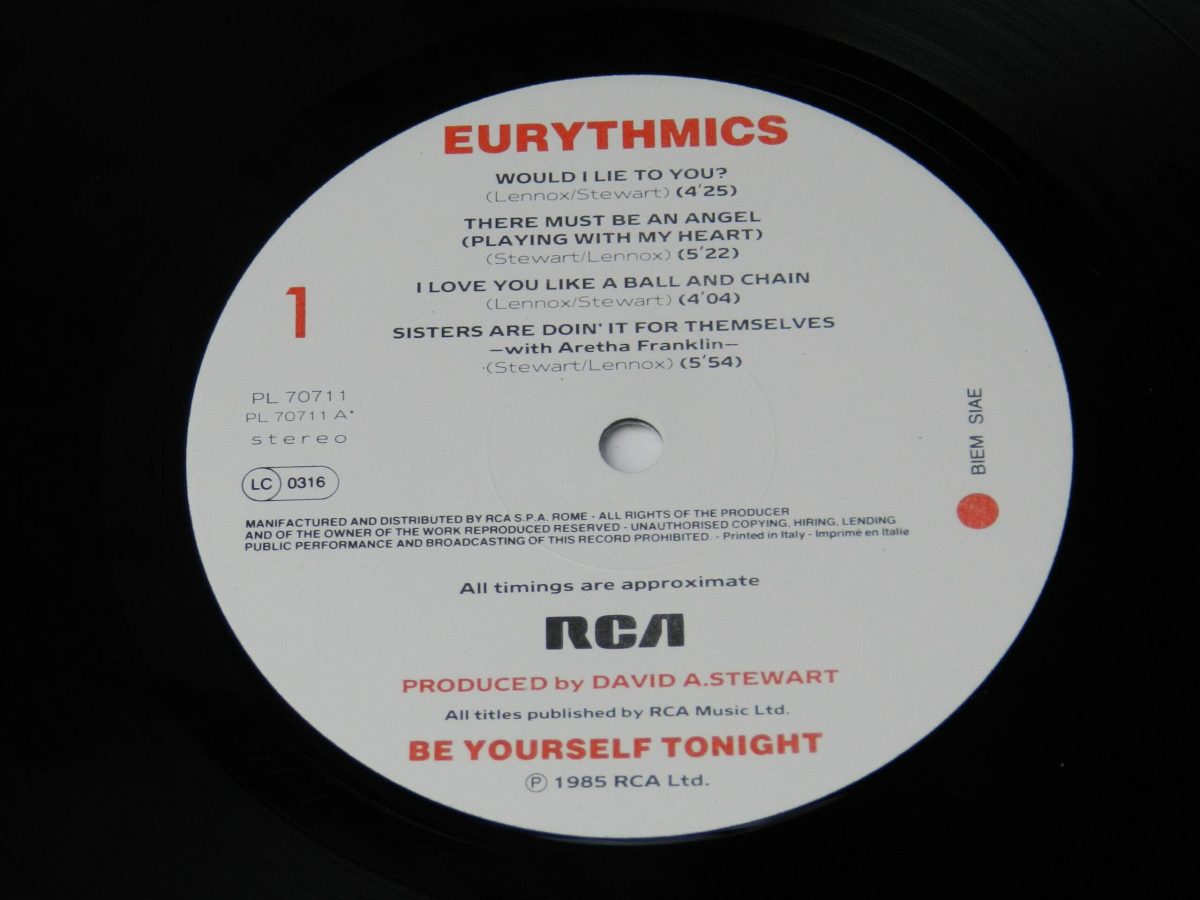 Eurythmics – Be Yourself Tonight vinyl record side A label scaled