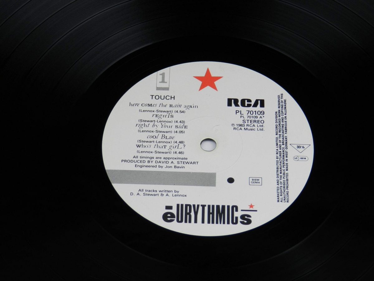 Eurythmics – Touch vinyl record side A label scaled