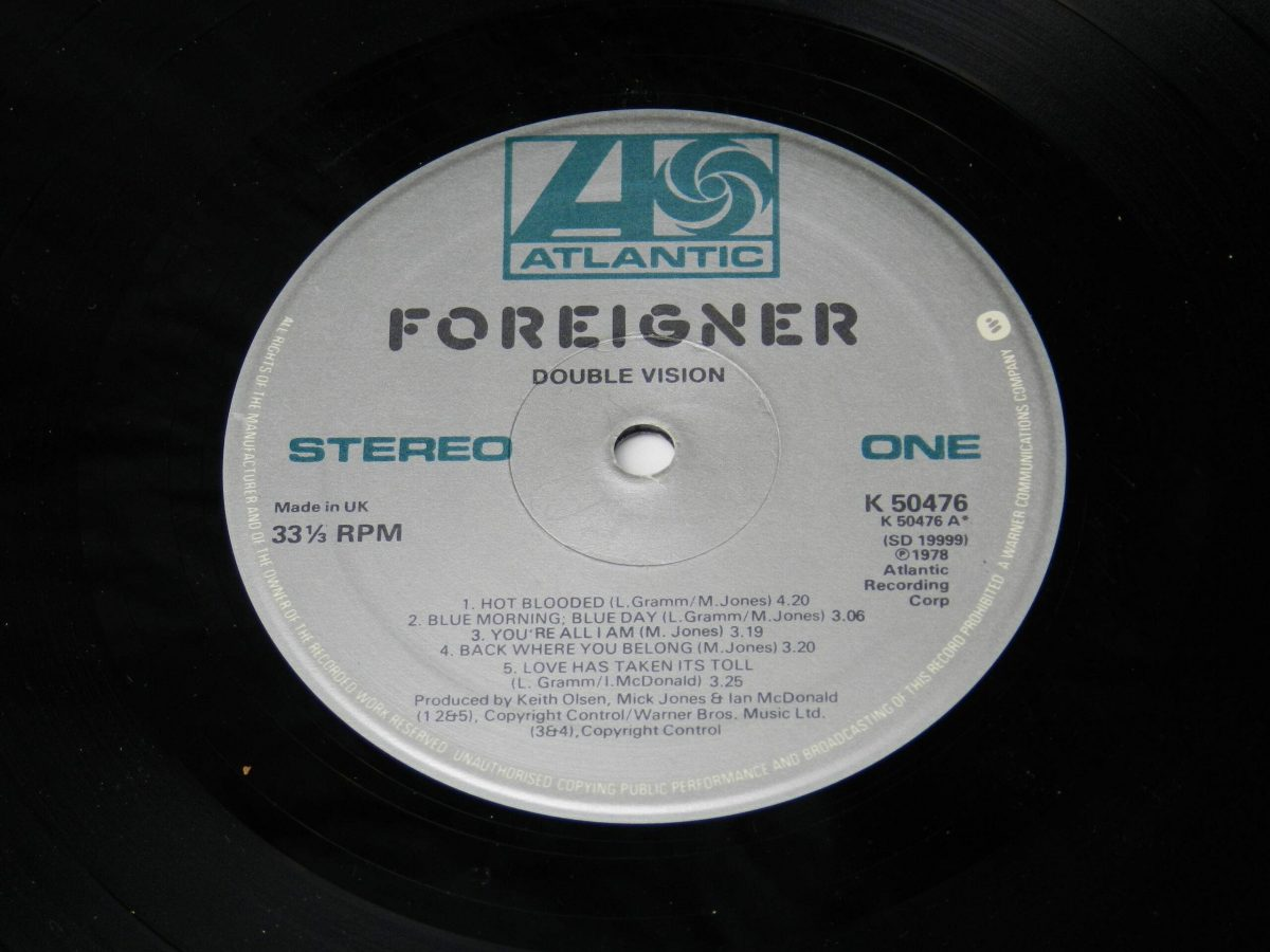 Foreigner – Double Vision vinyl record side A label scaled