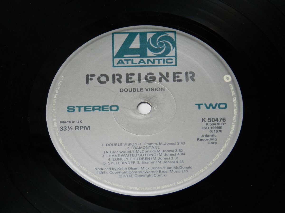 Foreigner – Double Vision vinyl record side B label scaled