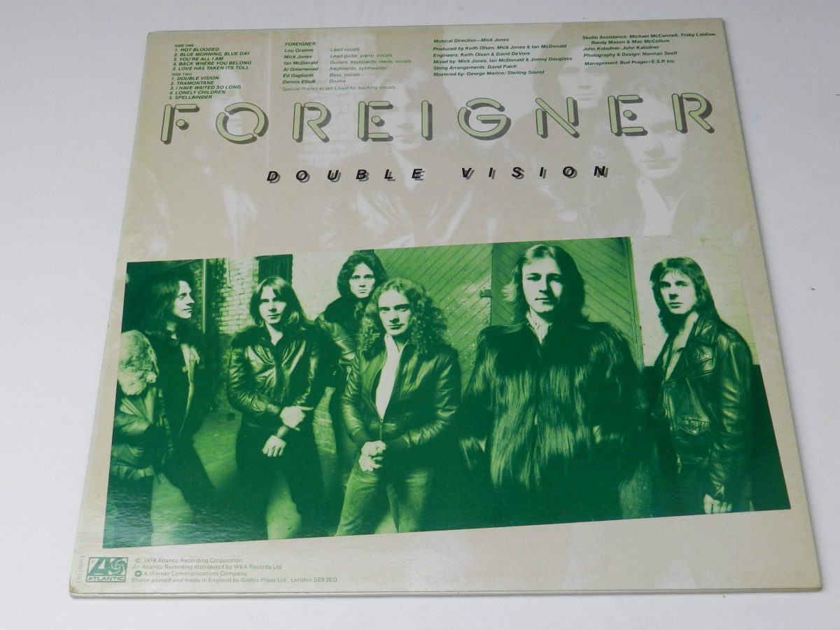 Foreigner – Double Vision vinyl record sleeve rear scaled