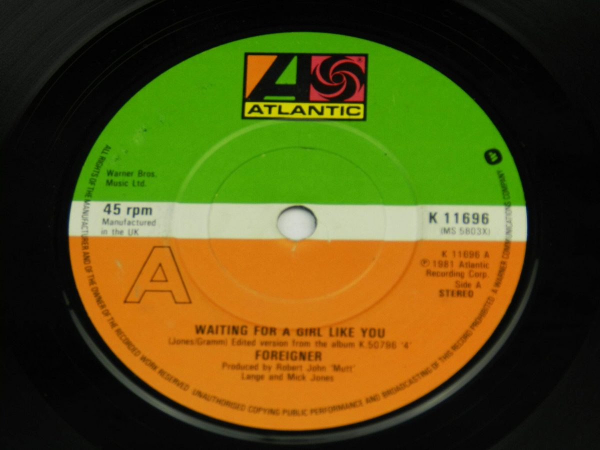 Foreigner – Waiting For A Girl Like You vinyl record side A label scaled