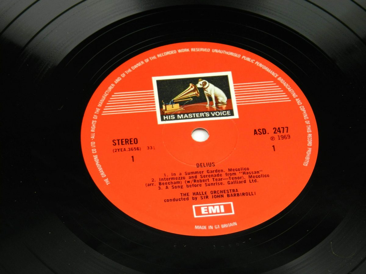 Frederick Delius Sir John Barbirolli Conducting The Halle Orchestra – In A Summer Garden Music Of Frederick Delius vinyl record side A label scaled