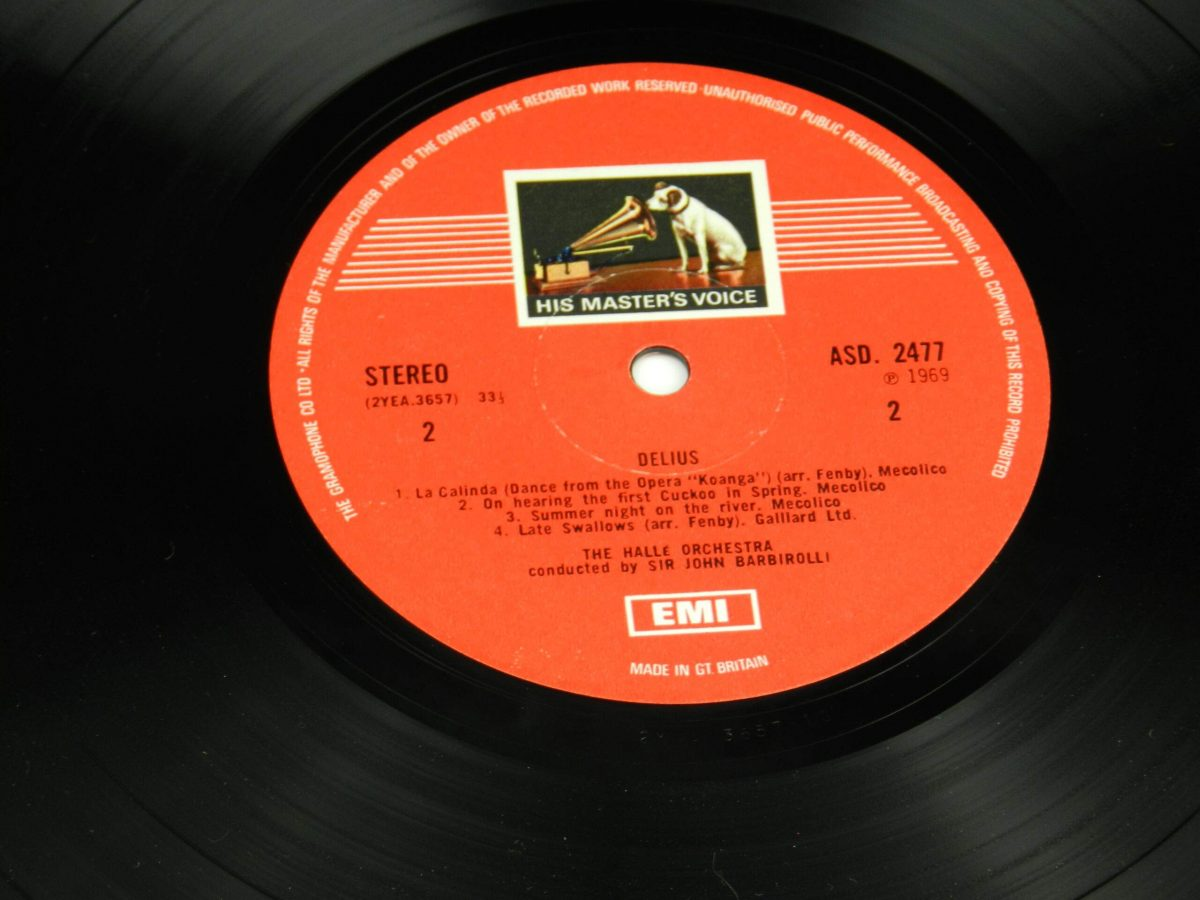 Frederick Delius Sir John Barbirolli Conducting The Halle Orchestra – In A Summer Garden Music Of Frederick Delius vinyl record side B label scaled