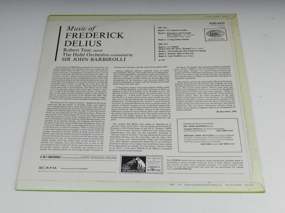 Frederick Delius Sir John Barbirolli Conducting The Halle Orchestra – In A Summer Garden Music Of Frederick Delius vinyl record sleeve rear scaled