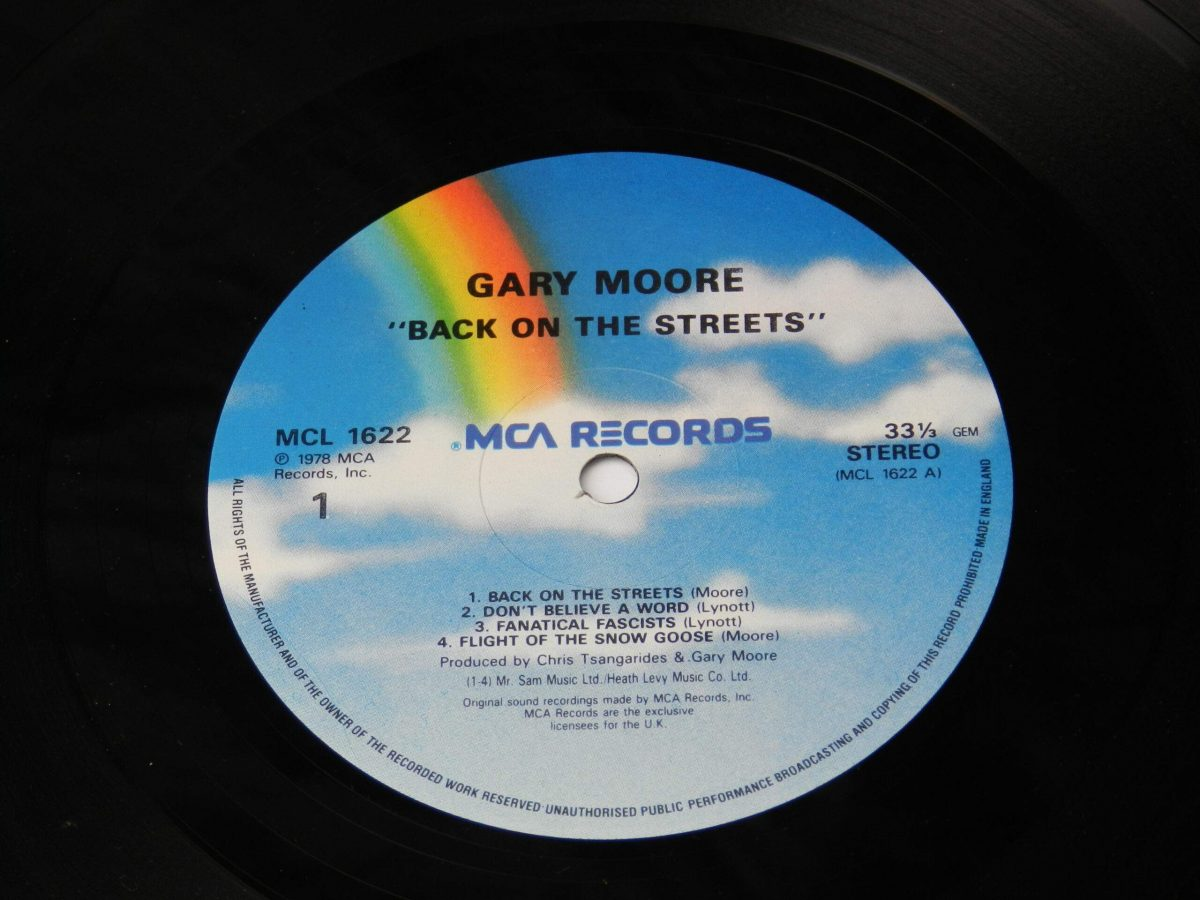 Gary Moore – Back On The Streets vinyl record side A label scaled