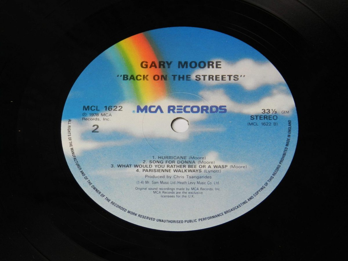 Gary Moore – Back On The Streets vinyl record side B label scaled