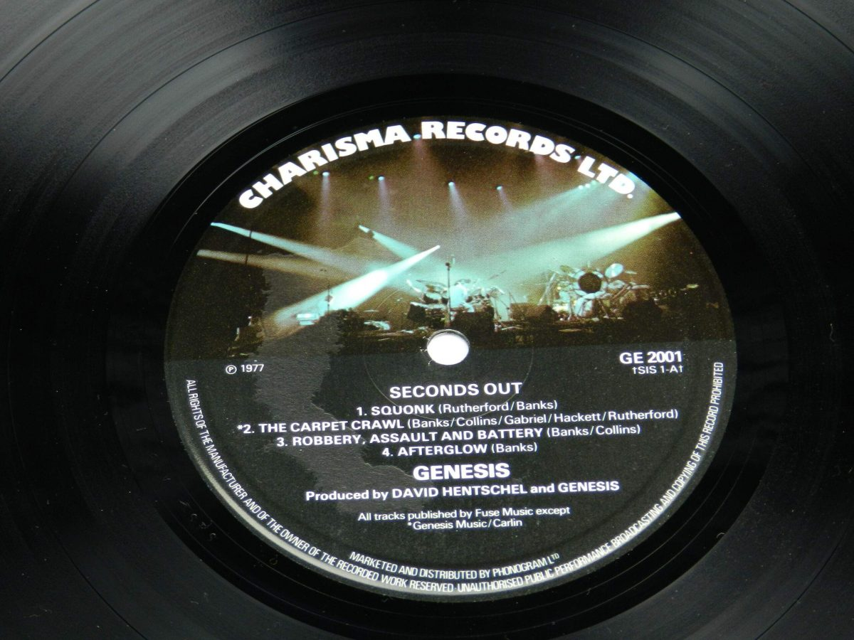 Genesis – Seconds Out vinyl record 1 side A label scaled