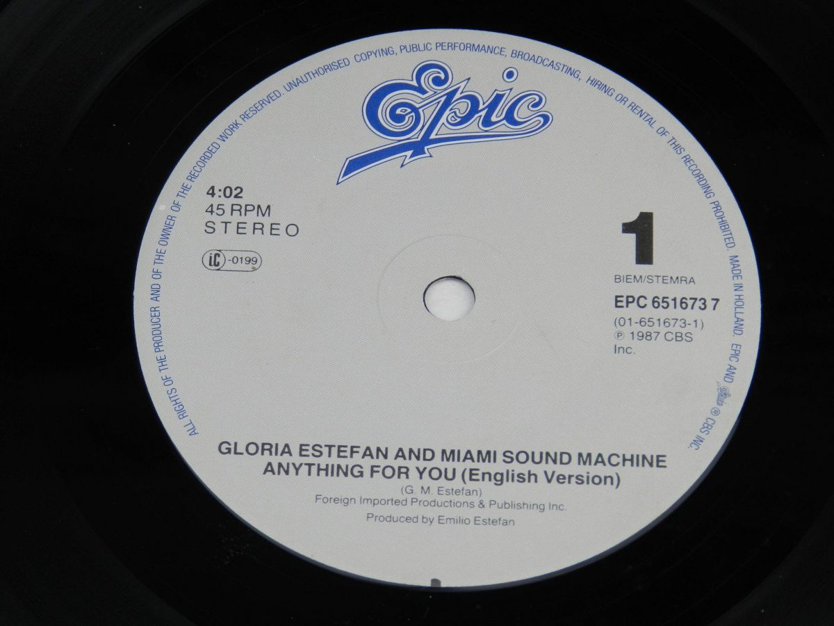 Gloria Estefan And Miami Sound Machine – Anything For You vinyl record side A label scaled