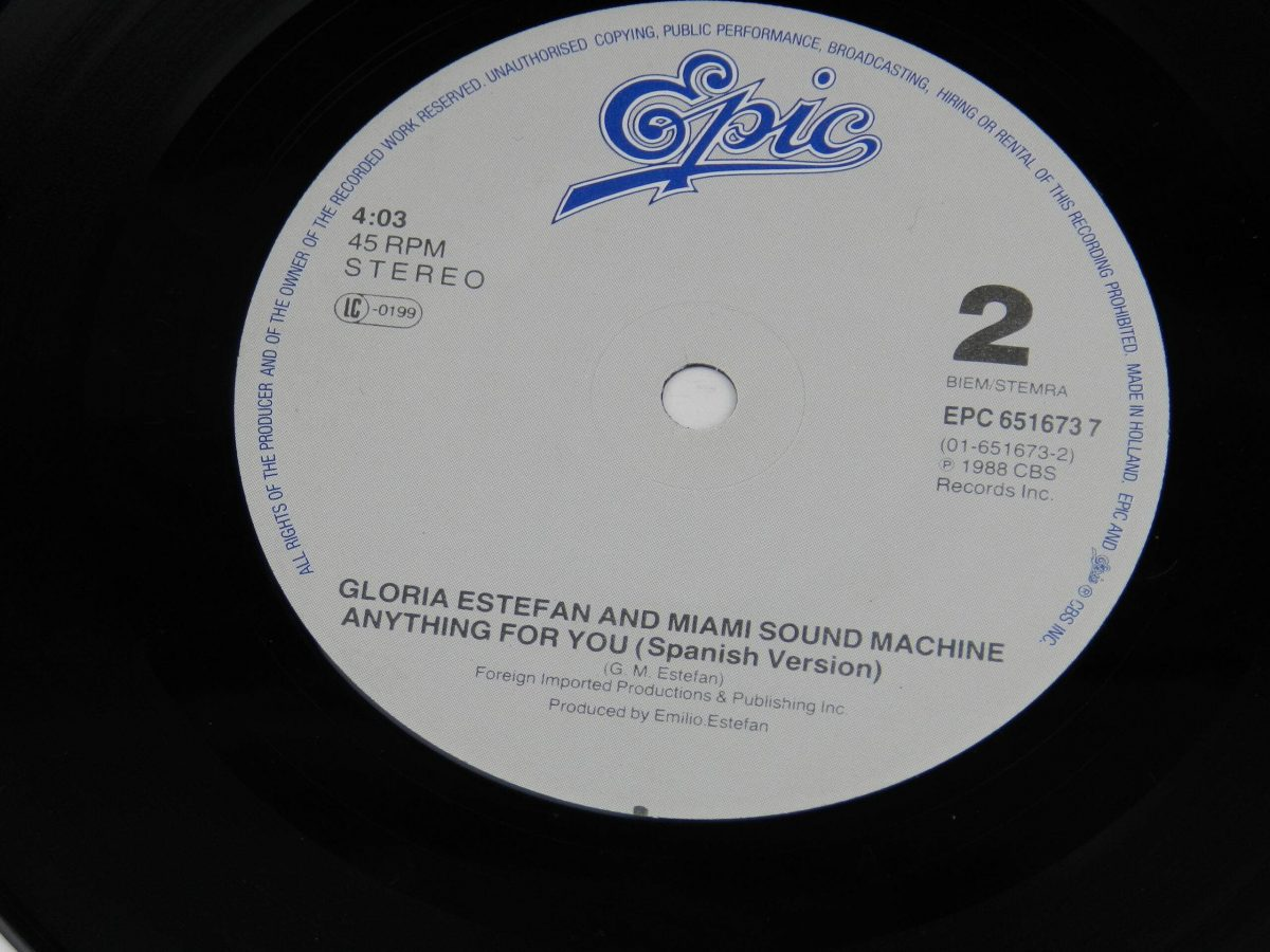 Gloria Estefan And Miami Sound Machine – Anything For You vinyl record side B label scaled