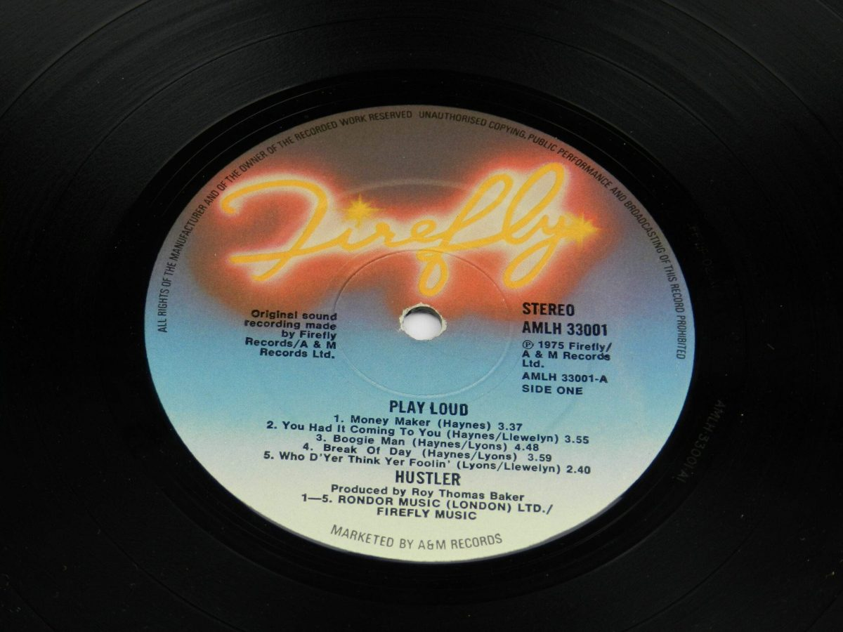 Hustler – Play Loud vinyl record side A label scaled