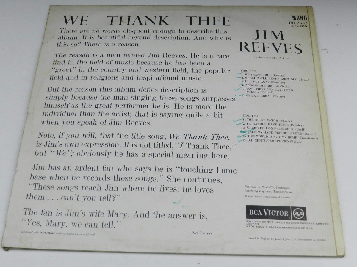 Jim Reeves – We Thank Thee vinyl record sleeve rear scaled