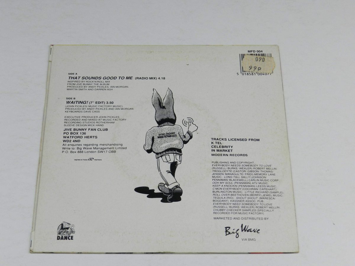 Jive Bunny And The Mastermixers – That Sounds Good To Me vinyl record sleeve rear scaled