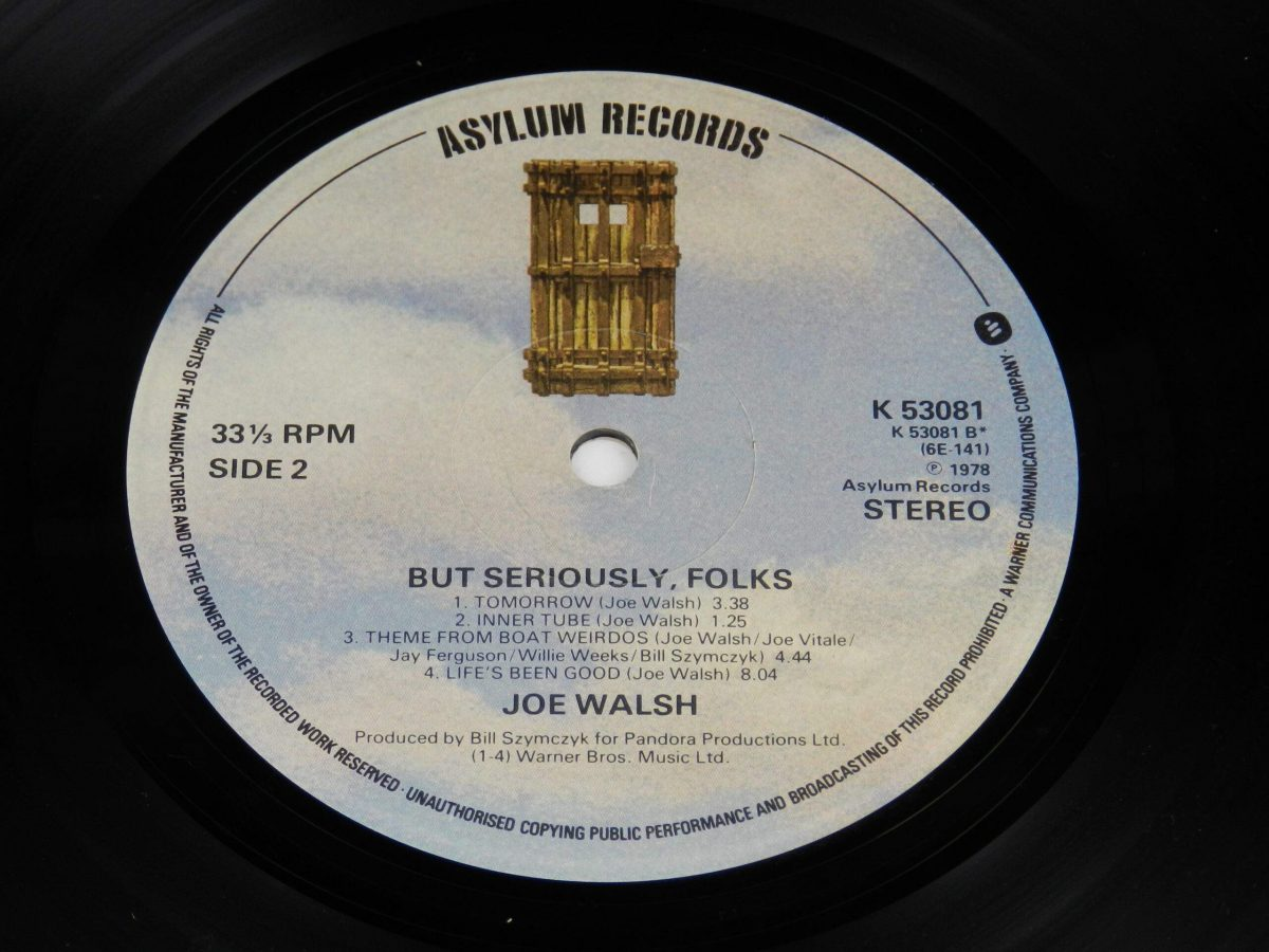 Joe Walsh – But Seriously Folks vinyl record side B label scaled