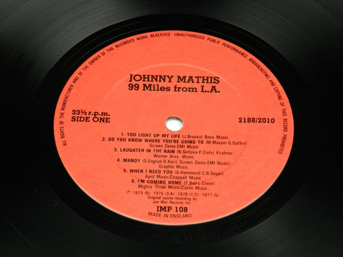 Johnny Mathis – 99 Miles From LA vinyl record side A label scaled