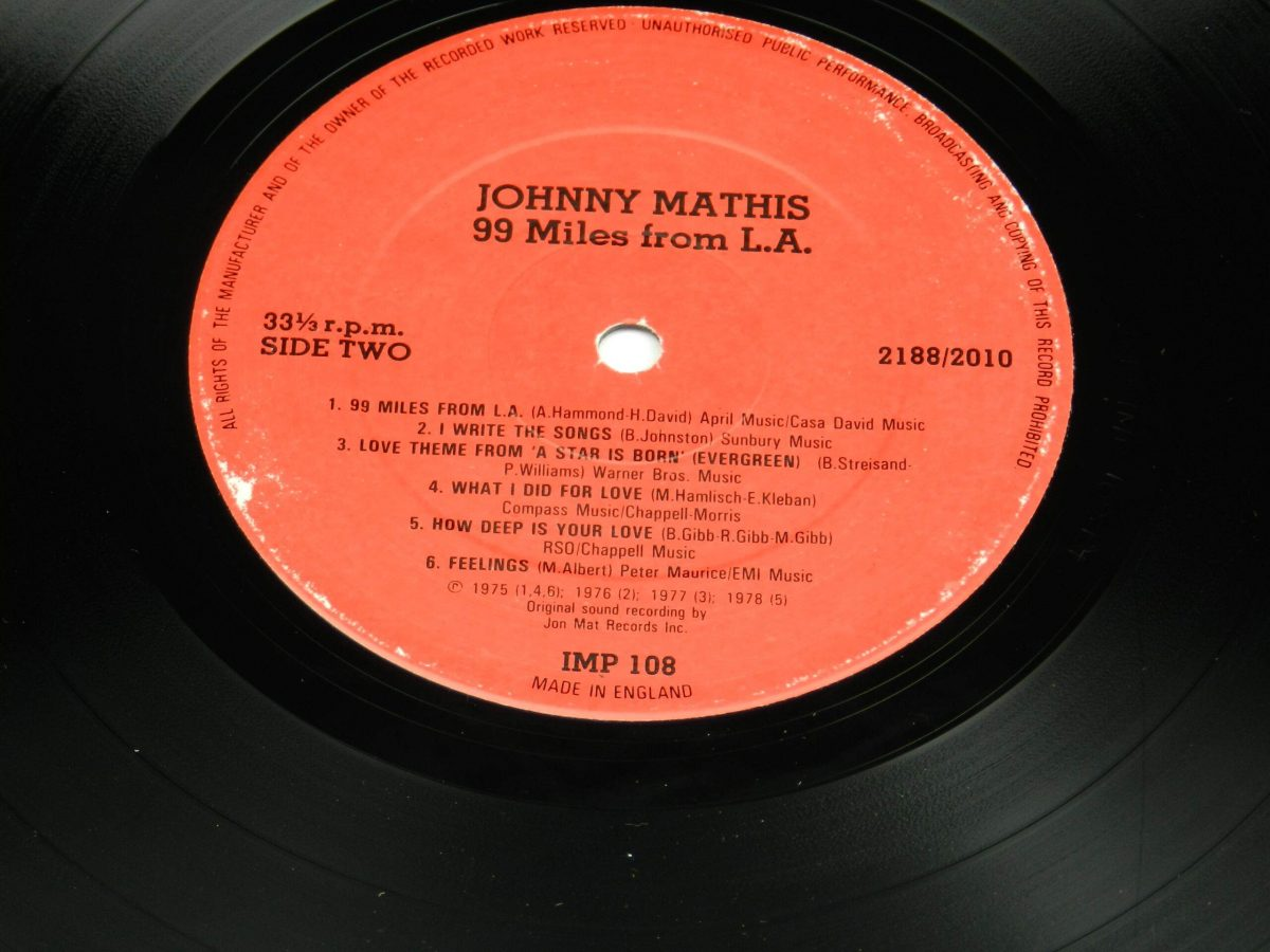 Johnny Mathis – 99 Miles From LA vinyl record side B label scaled