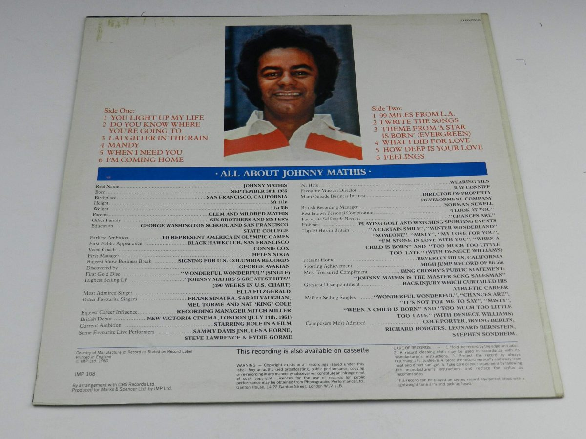 Johnny Mathis – 99 Miles From LA vinyl record sleeve rear scaled
