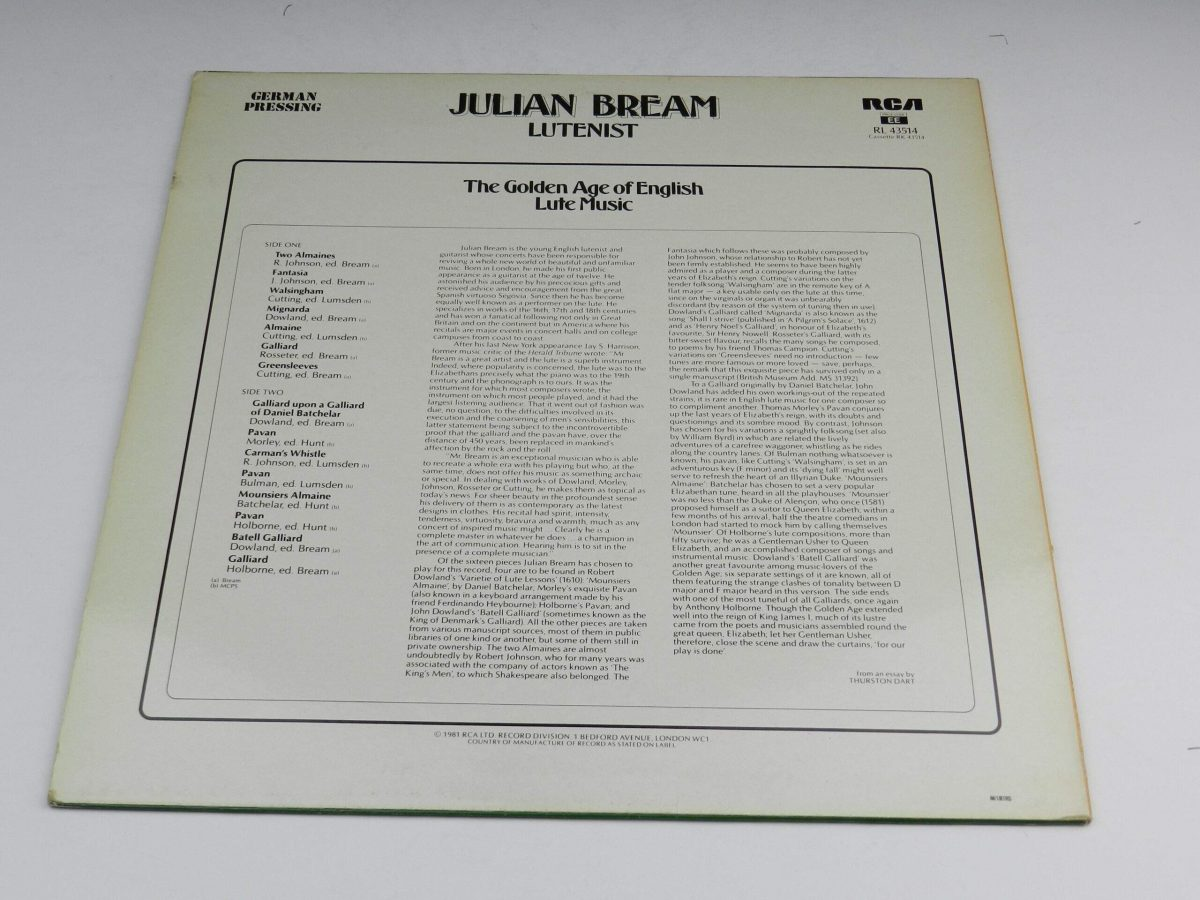 Julian Bream – The Golden Age Of English Lute Music vinyl record sleeve rear scaled