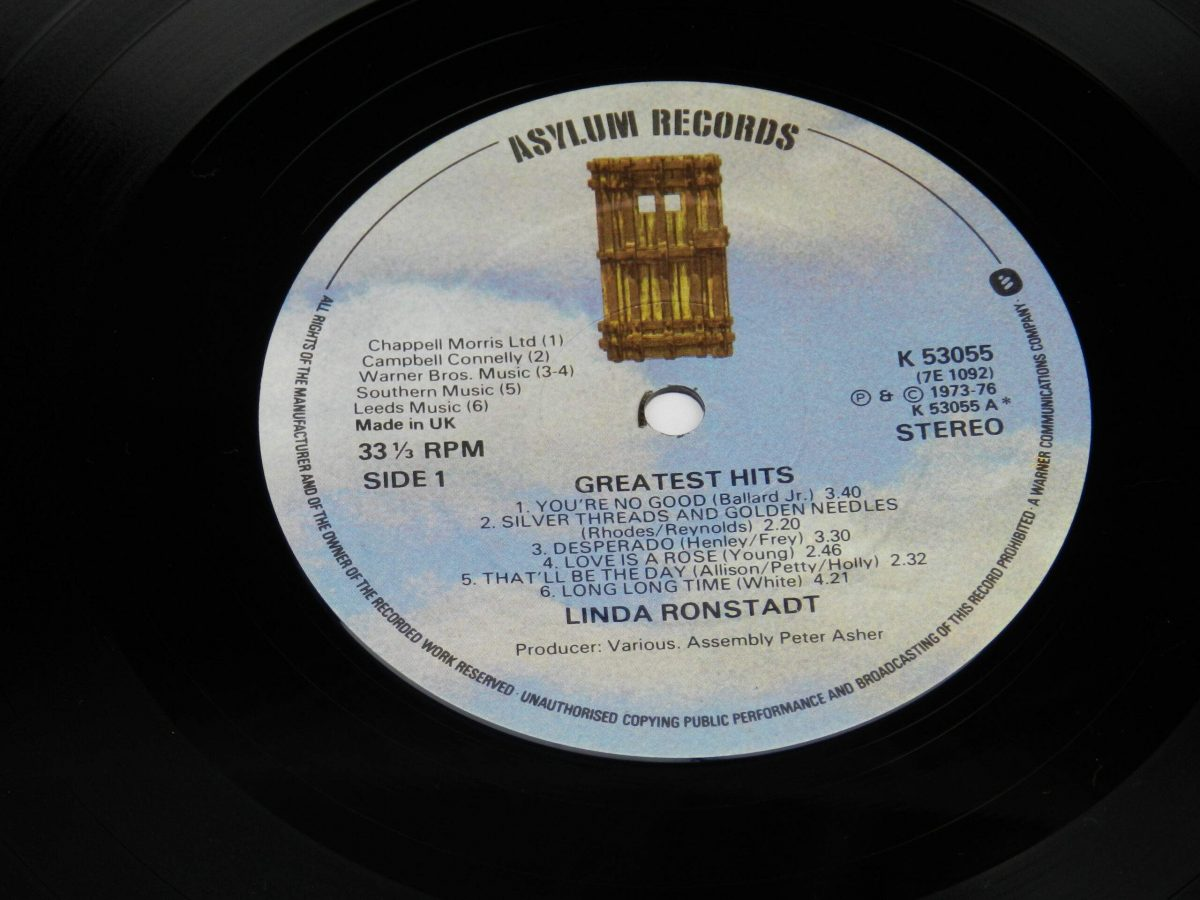 Linda Ronstadt – Greatest Hits vinyl record side A label scaled