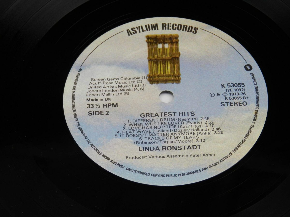 Linda Ronstadt – Greatest Hits vinyl record side B label scaled